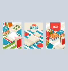 Set banners with books poster for library or vector