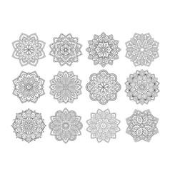 set mandala in ethnic oriental style vector image