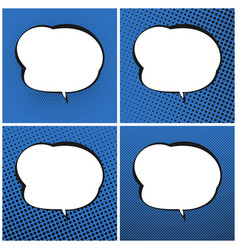 Set of blue pop art retro speech bubble vector