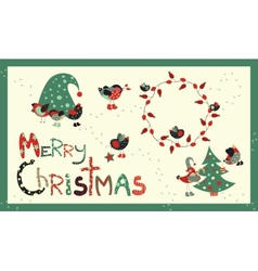 Set of decoration elements for Christmas vector image