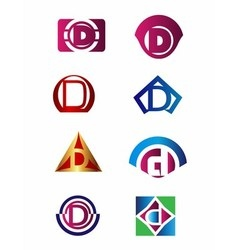 Set of letter D logo Branding Identity Corporate vector image