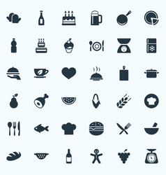 Set of simple cooking icons vector