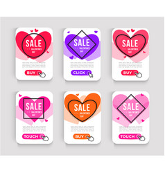 set valentines day sale posters web banner vector image