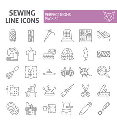 Sewing thin line icon set tailor symbols vector