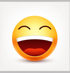 Smileylaughing emoticon yellow face with vector