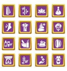 spa salon icons set purple square vector image