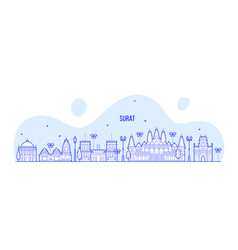 surat skyline gujarat india city buildings vector image