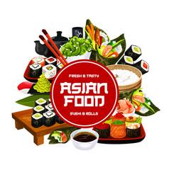 sushi bar menu japanese sashimi and maki rolls vector image