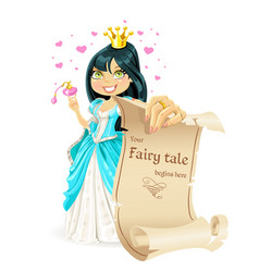 sweetheart brunette princess with banner - your vector image
