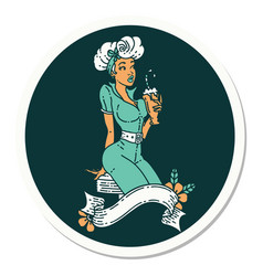 Tattoo style sticker a pinup girl drinking a vector