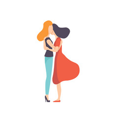 two beautiful women friends hugging side view vector image