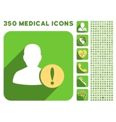 User Problem Icon and Medical Longshadow Icon Set vector image