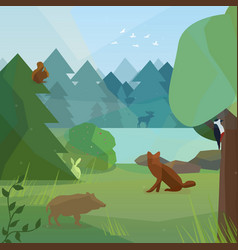 wild forest in low polygon style vector image
