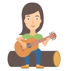 Woman playing guitar vector image