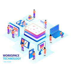 Workspace technology isometric composition vector