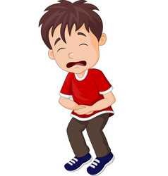 young boy suffering from stomach ache vector image