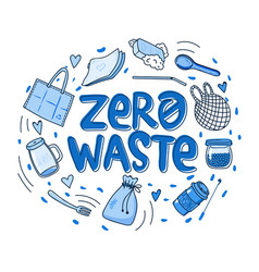 zero waste hand drawn vector image