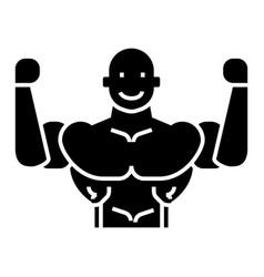 bodybuilder icon black sign vector image vector image