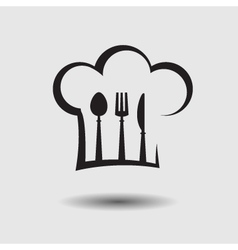 chef hat with spoon knife and fork vector image vector image