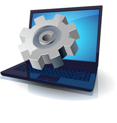 Laptop and gear vector image vector image