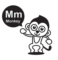 M Monkey cartoon and alphabet for children to vector image vector image