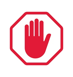 Rad hand blocking sign stop vector image vector image