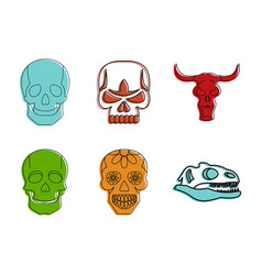 skull icon set color outline style vector image vector image