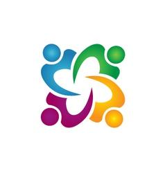 Teamwork people business group logo vector image vector image