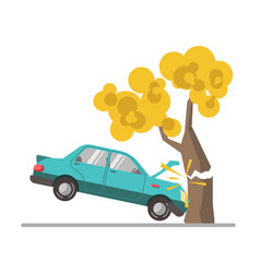 car crash accident in tree flat vector image