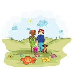 cartoon background with family vector image