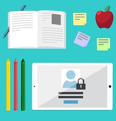 Flat concepts for education online tutorials rese vector image vector image