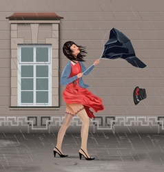 Windy Rainy Day vector image vector image