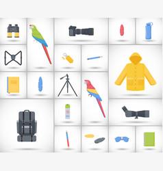 birding travel flat icons set vector image vector image