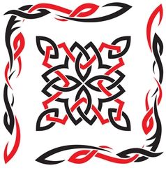 Celtic black and red ornament for design vector image
