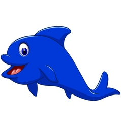 funny dolphin cartoon for you design vector image