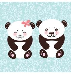 girl and boy Kawaii funny panda white muzzle with vector image vector image
