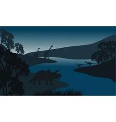 Landscape dinosaur silhouette in river vector image vector image