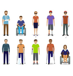 set of ten disabled people characters disability vector image