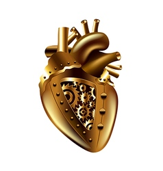 Steampunk human heart isolated vector image vector image
