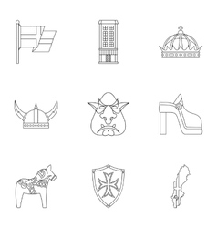 Tourism in Sweden icons set outline style vector image vector image