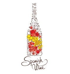 Abstract wine botle from Spain vector image vector image