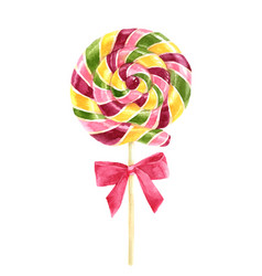 bright watercolor lollipop vector image