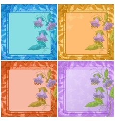 Flowers leaves frame and butterfly vector image vector image