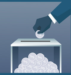 hand putting coin in donate box for charity vector image