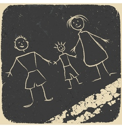 happy family doodle vector image