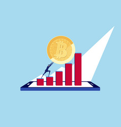 pushing big bitcoin up to the top of data on phone vector image vector image