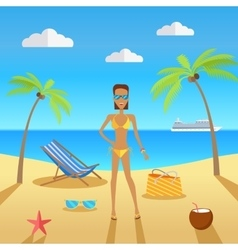 Woman on Beach with Sand and Palm vector image vector image