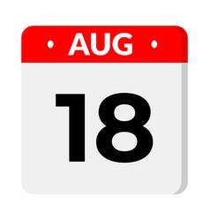 18 august calendar icon vector