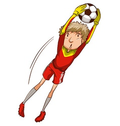 A boy playing soccer vector image