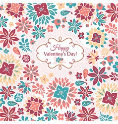 Abstract Valentines day floral card vector image